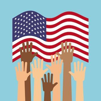 Vs land vlag en menselijke handen omhoog