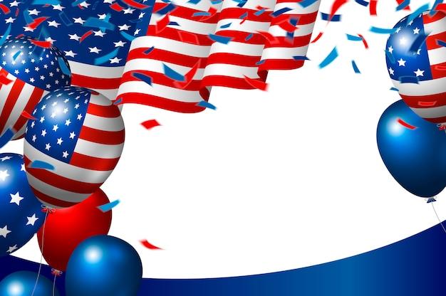 Vs of amerikaanse vlag en ballon op witte achtergrond
