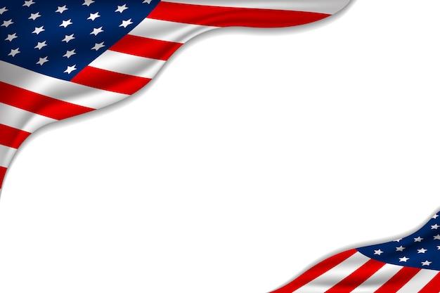 Vs of amerikaanse vlag op witte achtergrond