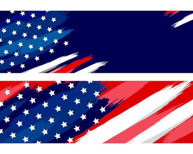 Vs of amerikaanse vlag penseel op wit