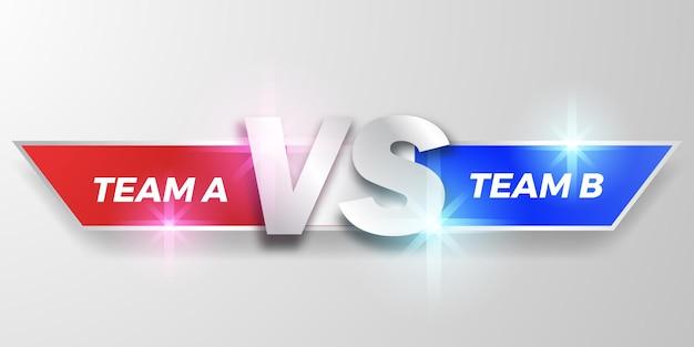 Vs strijd onderste derde, scorebord team a versus team b, rood en blauw, elegant voor duelsport, competitie,