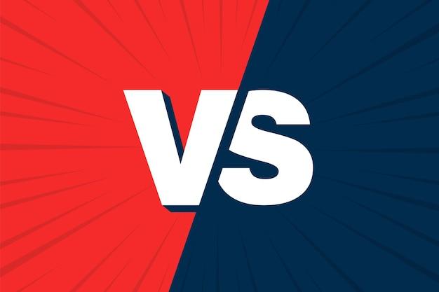 Vs versus blauw en rood stripontwerp. vector illustratie.