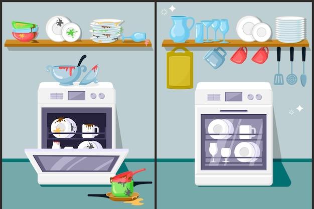 Vuile en schone vaat plat. automatische vaatwasser, keukenapparatuur. glaswerk, borden, kookgerei. gewassen kookgerei op plank. voor en na huishoudelijk werk