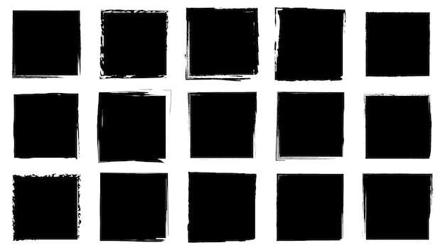 Vuile frames voor ontwerp in grunge-stijl. inkt penseelstreken. een set noodtexturen met een vierkante of rechthoekige vorm. geïsoleerde achtergronden voor het ontwerpen van tekstframes, posters, banners. zwart wit.
