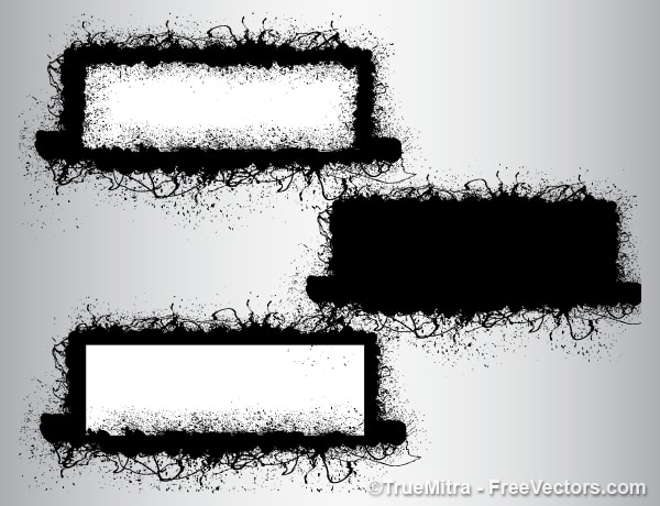 Vuile grunge brushes banners achtergrond vector set