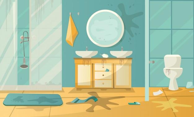 Vuile interieur van badkamer met toilet wastafel douche en accessoires in een moderne stijl. platte cartoon vectorillustratie