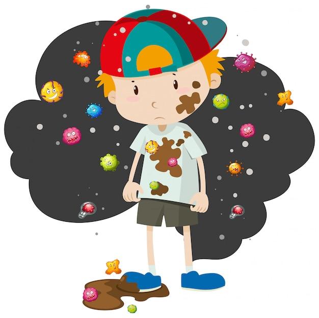 Vuile jongen vol met bacteriën