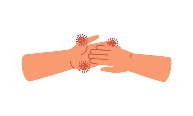 Vuile mensenhanden nemen virus op. concept van coronavirus-epidemie en verspreiding van virale infectieziekte