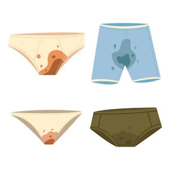 Vuile ondergoed cartoon set geïsoleerd op een witte achtergrond.