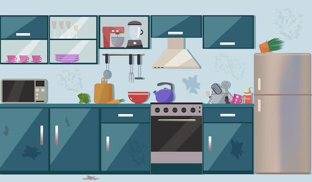 Vuile rommelige keuken.