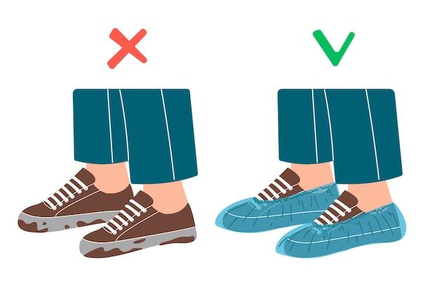 Vuile schoenen en schone schoenen op wit wordt geïsoleerd