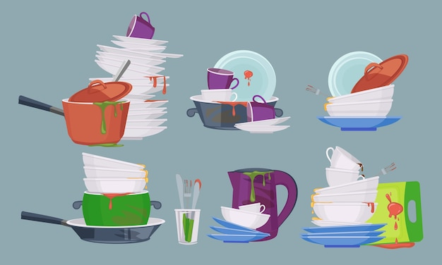 Vuile schotel. restaurant keuken lege items voor het wassen en schoonmaken van vuile borden mokken collectie