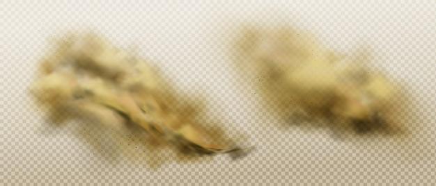 Vuile stofwolken van vliegend zand en grond