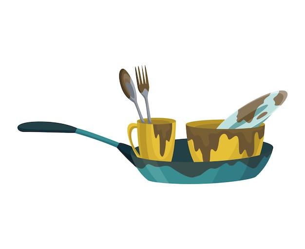 Vuile vaat borden en kopjes steelpan met resten vetvlekken