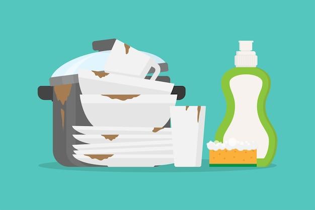 Vuile vaat, pan en afwasmiddel platte ontwerp vectorillustratie