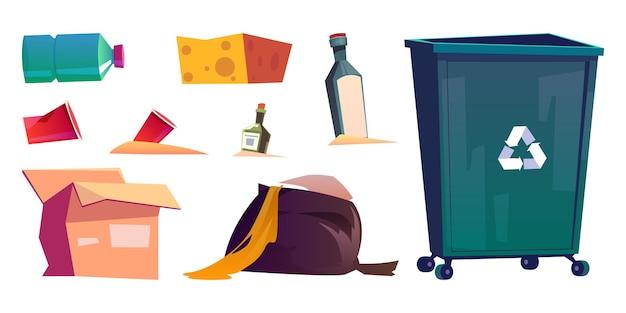 Vuilnis prullenbak en afvalbak geïsoleerde tekenfilm set