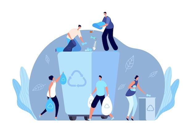 Vuilnis recycling concept. persoon die afval recycleert, platte mensen maken plastic afval schoon. milieu-industrie vrijwilligers vector illustratie. recycle afval en afval, afvalindustrie