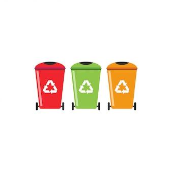 Vuilnisbak recycle grafisch ontwerpsjabloon vector