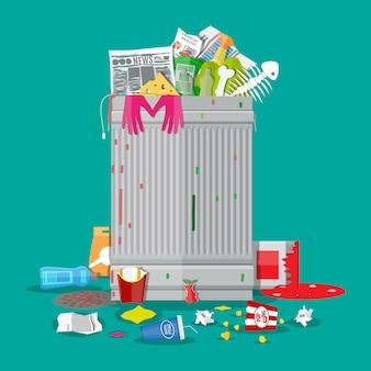 Vuilnisbak vol met afval. overvolle container