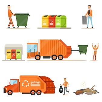 Vuilnisman op het werk reeks illustraties met glimlachende recycling en afval verzamelen werknemer