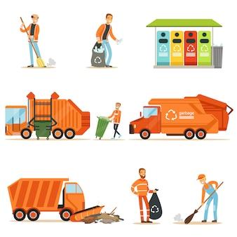 Vuilnisman op het werk set van illustraties met lachende recycling en afval verzamelen werknemer