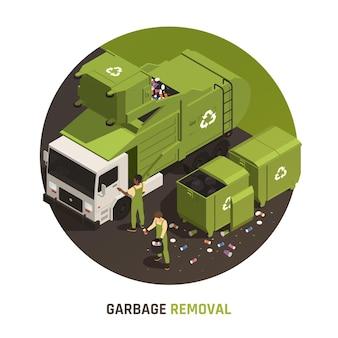 Vuilnisverwijdering ronde illustratie met mensen in uniform die afval in vrachtwagen laden