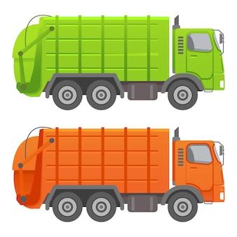 Vuilniswagen. apparatuur voor recycling en gebruik van afval.