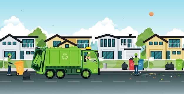 Vuilniswagen die vuilnis op straat inzet.