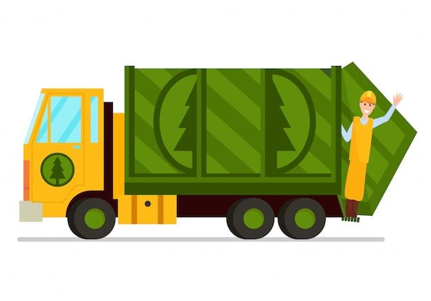 Vuilniswagen en hygiëne werknemer illustratie