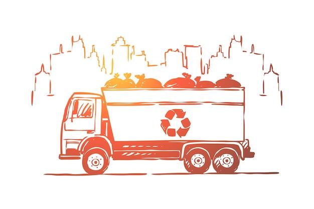 Vuilniswagen, vrachtwagen, auto met illustratie van afvalzakken