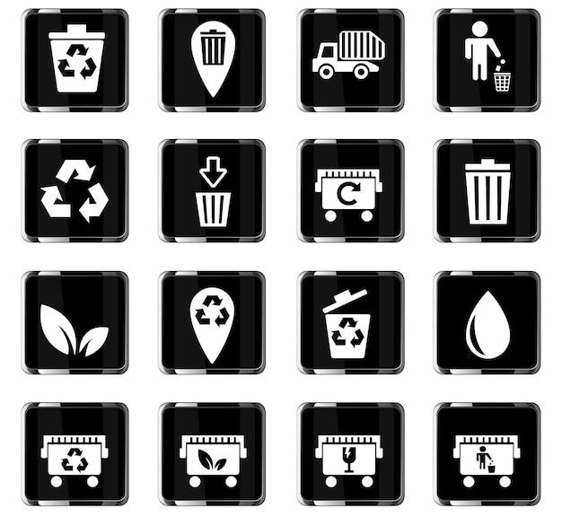 Vuilniswebpictogrammen voor gebruikersinterfaceontwerp