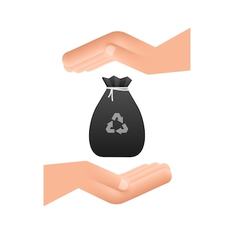 Vuilniszak in handen icoon. vuilniszak. vector voorraad illustratie.