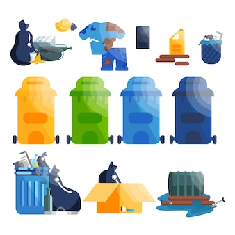 Vuilniszakken en spullen. inzameling van plastic, papier en glasafval.
