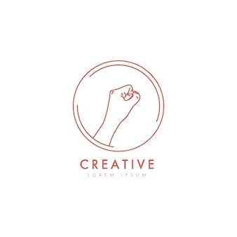 Vuist logo. vrouwelijk handembleem in minimale lineaire stijl.