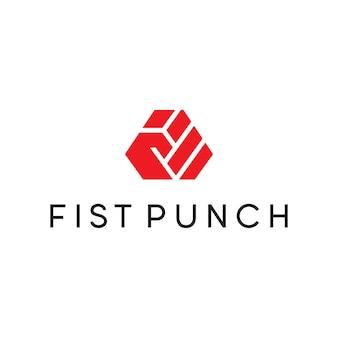 Vuist punch logo vector sjabloon
