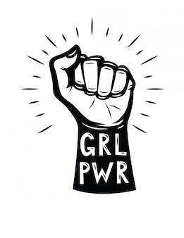 Vuist van de vrouw. girl power