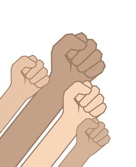 Vuisten handen. eenheidsconcept, revolutie, strijd, protest.