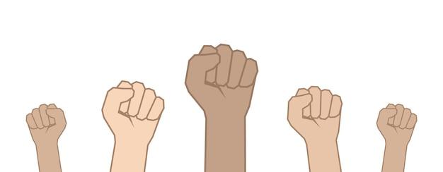 Vuisten handen omhoog. eenheidsconcept, revolutie, strijd, protest