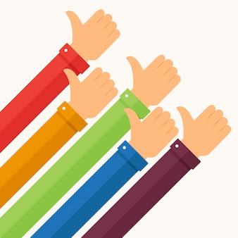 Vuisten omhoog met mouwen in verschillende kleuren