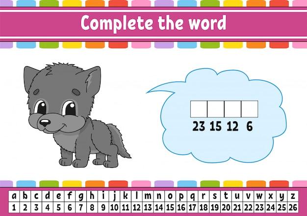 Vul de woorden in, cijfercode.