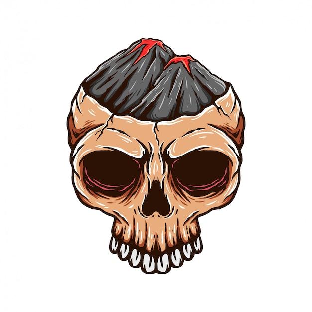 Vulcano berg schedel hoofd illustratie