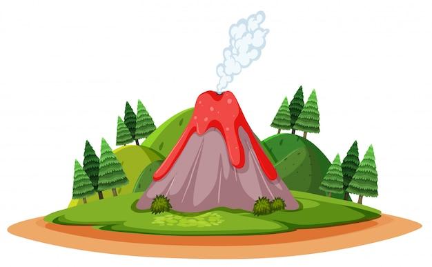 Vulkaan die uitbarst en rook met forst cartoon-stijl