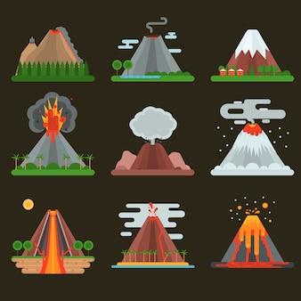 Vulkaan instellen vectorillustratie.