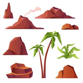 Vulkaan met rookbergen en palmbomen die op wit worden geïsoleerd