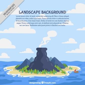 Vulkaan omgeven door bomen op een eiland