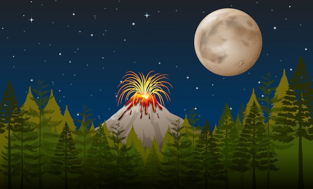 Vulkaanuitbarsting 's nachts