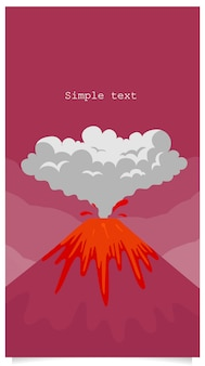 Vulkaanuitbarsting vlakke kleurenachtergrond met tekstruimte