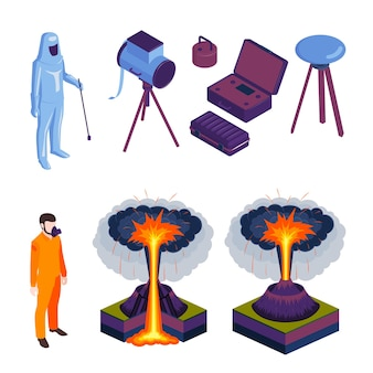 Vulkaanuitbarstingen en vulkanologen in speciale vorm en uitrusting gekleurde pictogrammen set