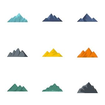 Vulkanische uitbarsting iconen set, vlakke stijl
