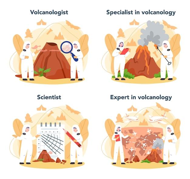 Vulkanoloog concept set. geoloog die de processen en activiteit van vulkanen en huidige en historische uitbarstingen bestudeert. vulkanische activiteit met magma en rook.